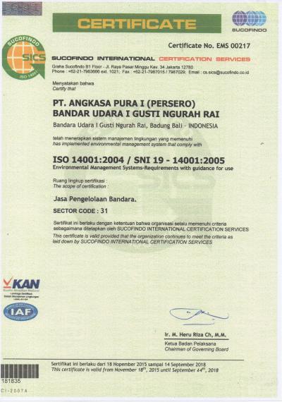 Bandara Ngurah Rai Bali Raih Sertifikasi Sistem Manajemen Lingkungan ISO 14001:2004